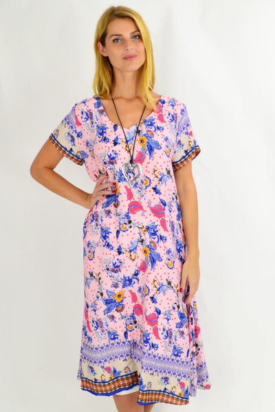 Long Pink Garden Tunic Dress | I Love Tunics | Tunic Tops | Tunic Dresses | Women's Tops | Plus Size Australia | Mature Fashion