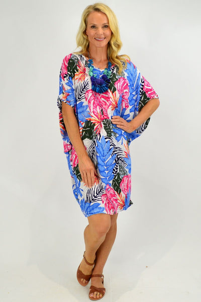 Blue Tropical Leaf Relaxed Tunic Dress | I Love Tunics | Tunic Tops | Tunic | Tunic Dresses  | womens clothing online