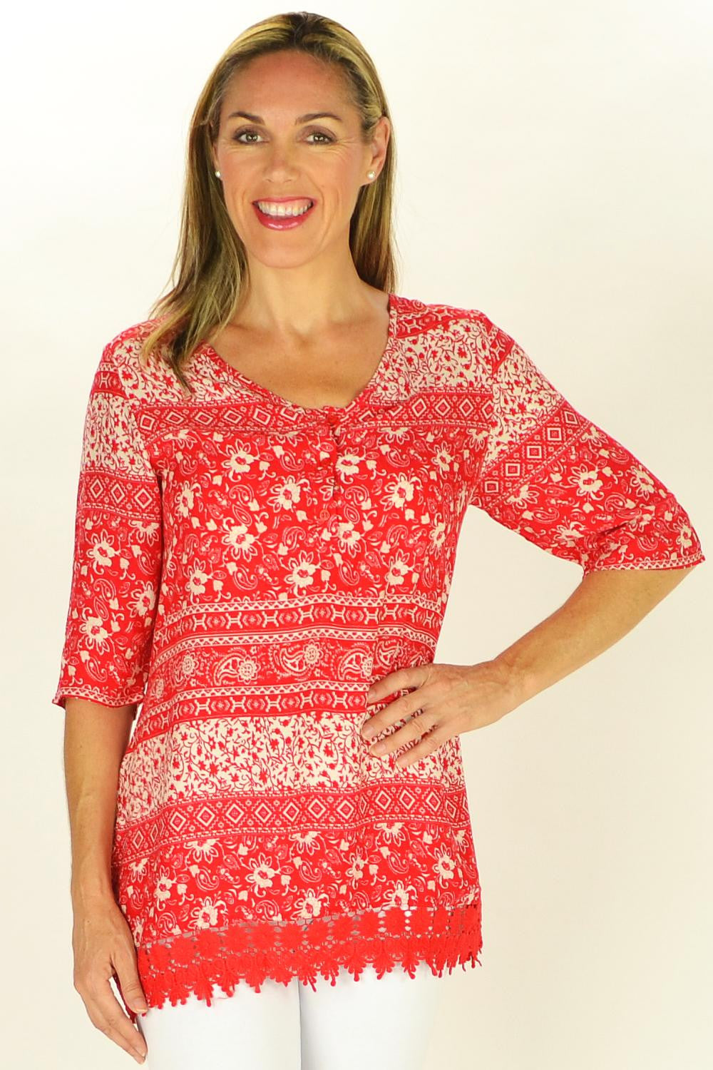 Red Selina Tunic | I Love Tunics | Tunic Tops | Tunic | Tunic Dresses  | womens clothing online