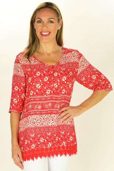 Red Selina Tunic - at I Love Tunics @ www.ilovetunics.com = Number One! Tunics Destination