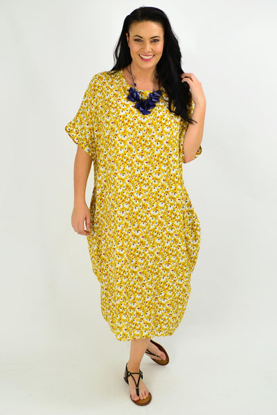 Mustard Tiny Floral Tunic Dress - I Love Tunics