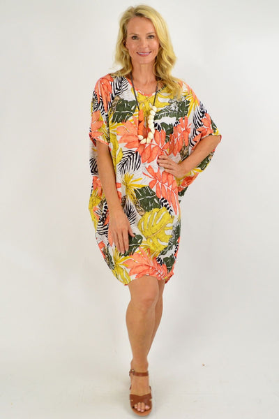 Orange Tropical Leaf Relaxed Tunic Dress