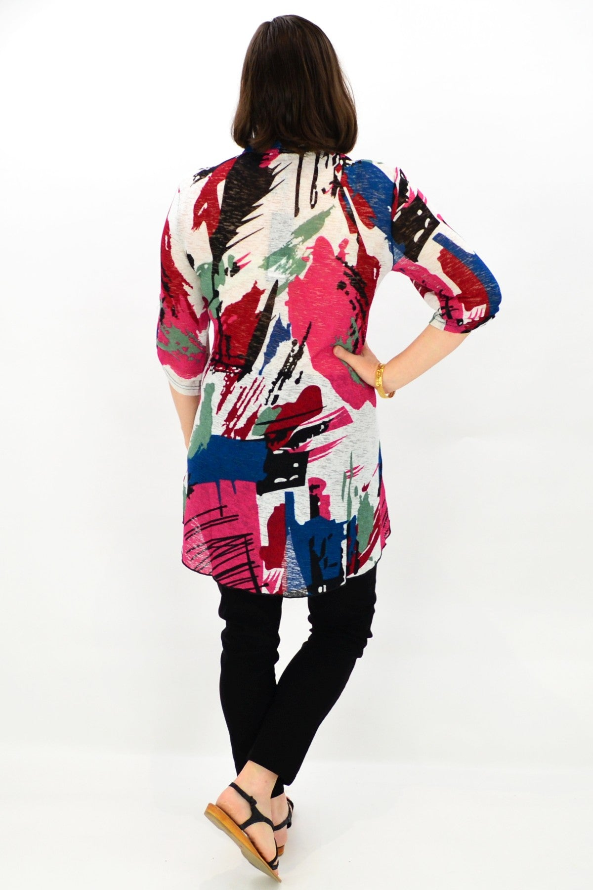 Model wearing Mesh Tunic Top by Lilia Whisper . Buy tunics tops online at ilovetunics.com