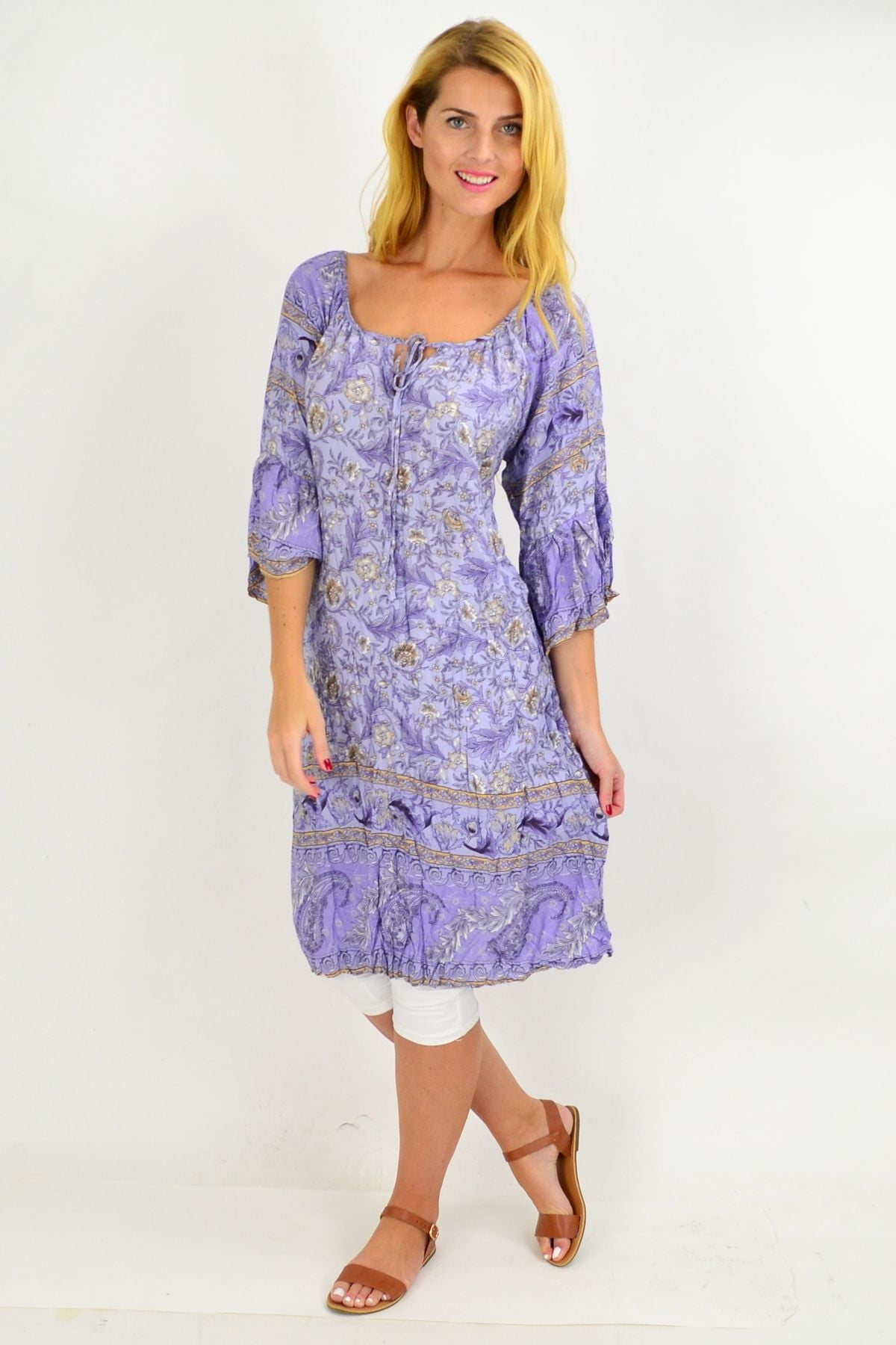 Lilac Floral Crinkle Tie Tunic Dress | I Love Tunics | Tunic Tops | Tunic | Tunic Dresses  | womens clothing online