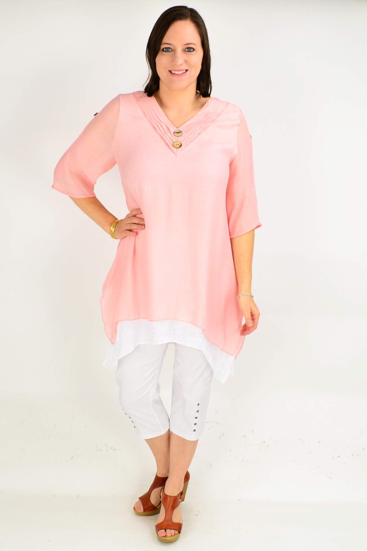 Model wearing peach cotton tunic top by calico available at ilovetunics.com