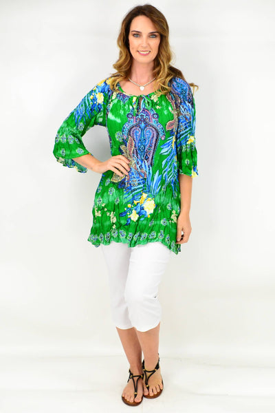 Green Paisley Crinkle Tie Tunic Blouse