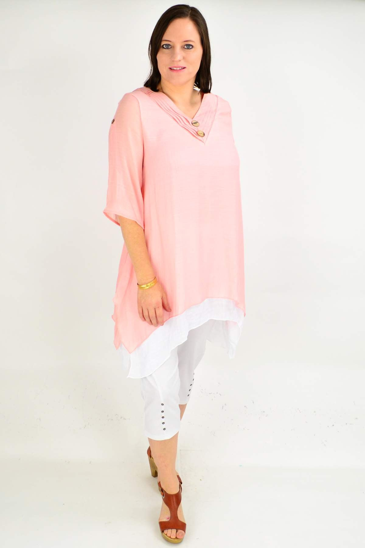 model wearing tunic dress top in pink