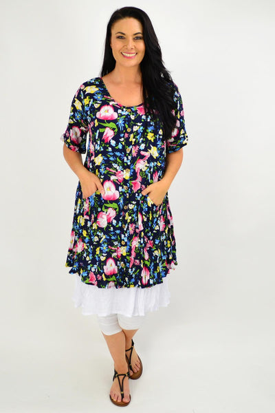 Navy Ellie Floral Crinkle Tunic Dress