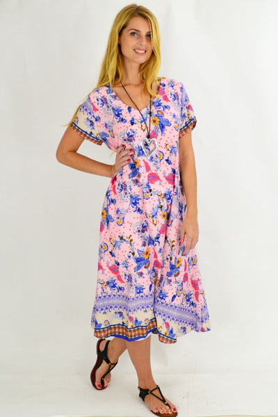 Long Pink Garden Tunic Dress