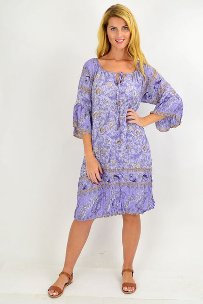 Lilac Floral Crinkle Tie Tunic Dress