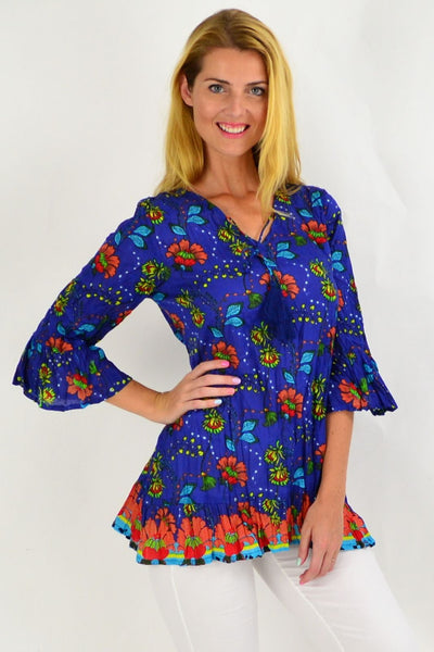 Orange Flower Print Tunic Top | I Love Tunics | Tunic Tops | Tunic | Tunic Dresses  | womens clothing online