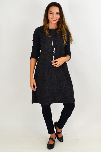 Charcoal Morgan Knit Tunic Dress