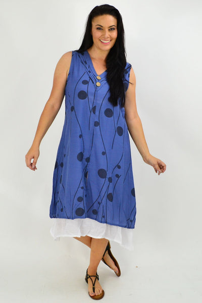 Sleeveless Blue Debs Dots Overlay Tunic Dress | I Love Tunics | Tunic Tops | Tunic | Tunic Dresses  | womens clothing online