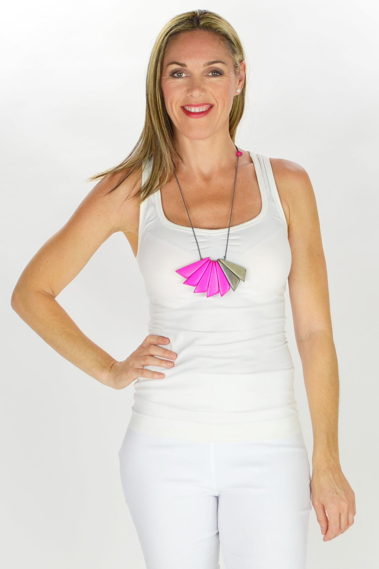 Pink Grey Wedges Necklace - at I Love Tunics @ www.ilovetunics.com = Number One! Tunics Destination