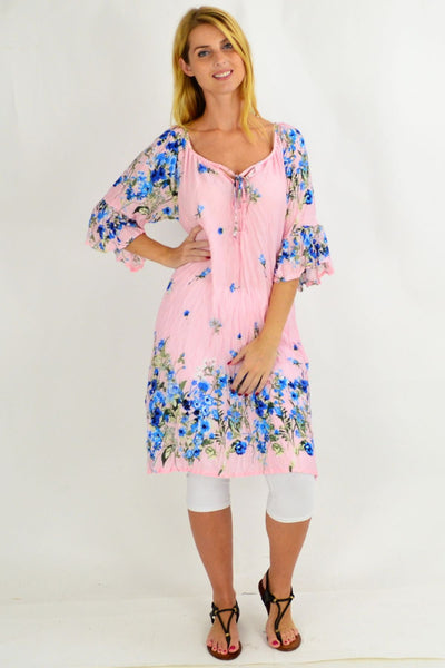 Soft Pink Floral Crinkle Tie Tunic Dress