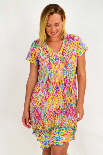 Yellow Dress Cap Sleeve Tunic Top