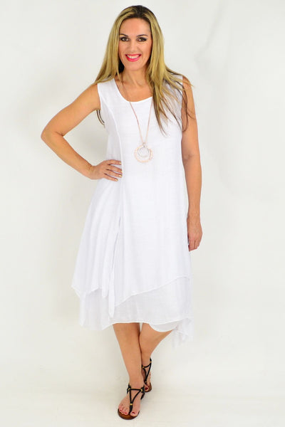 White Long Double Layered Linen Cotton Tunic Dress
