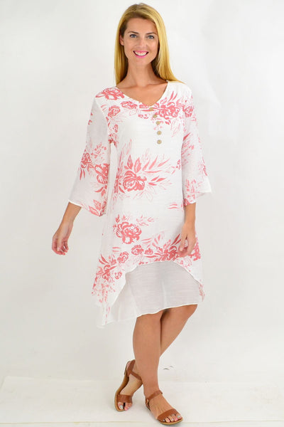 Floral White Overlay Tunic Dress