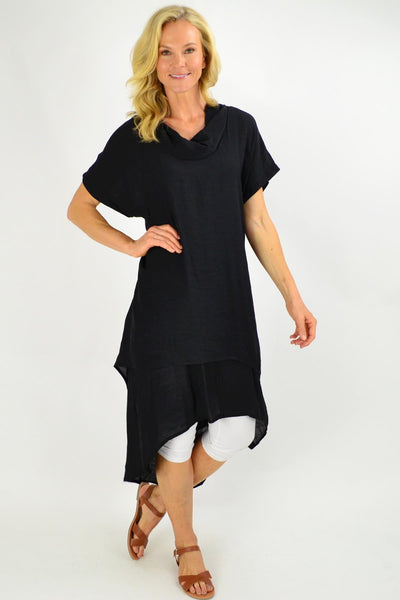 Black Cowl Neck Tunic Dress