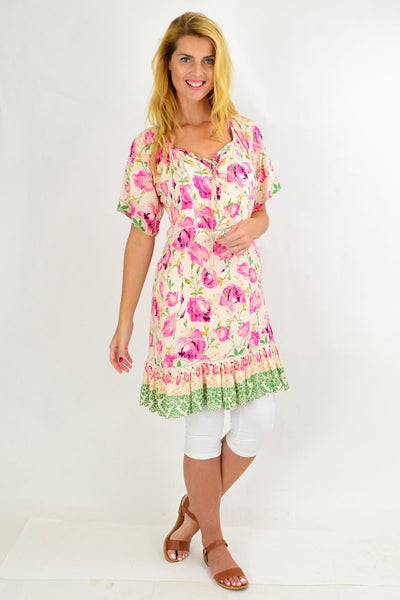 Pink Rose Flowy Tunic Dress