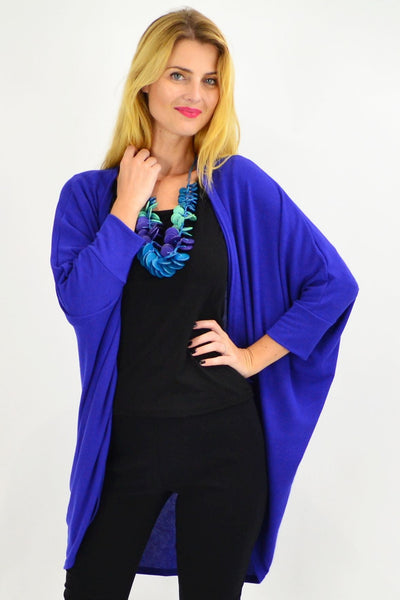 Royal Blue Round Batwing Freesize Cardigan - I Love Tunics