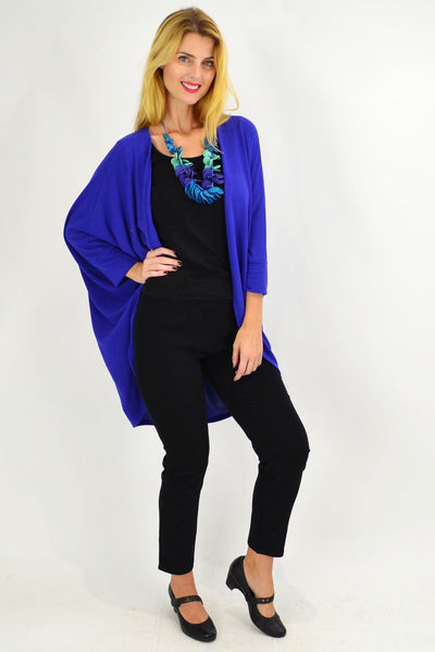 Royal Blue Round Batwing Freesize Cardigan