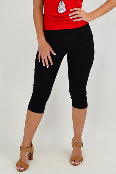 Black Crop Cotton Pants