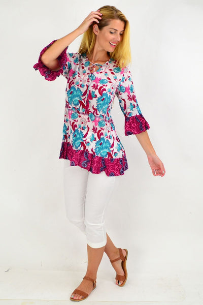 Aqua and Pink Flower Print Tunic Top