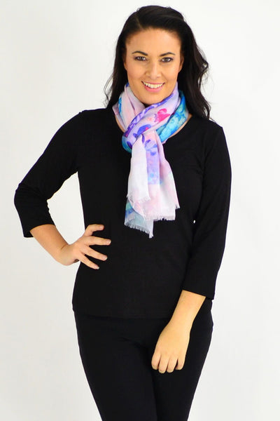 Purple Small Floral Print Scarf - I Love Tunics