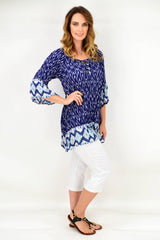 Navy Paisley Flower Crinkle Tie Tunic Blouse