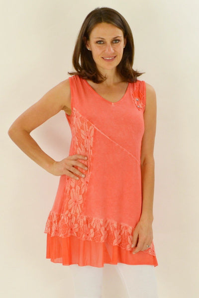 Peach Sleeveless Lace Tunic - at I Love Tunics @ www.ilovetunics.com = Number One! Tunics Destination