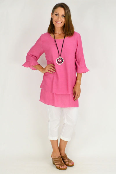 Pink Peppers Cross over Tunic Blouse