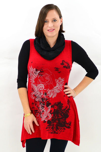 Sleeveless Red Layla Winter Tunic Top