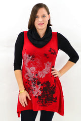 Sleeveless Red Layla Winter Tunic Top | I Love Tunics | Tunic Tops | Tunic | Tunic Dresses  | womens clothing online