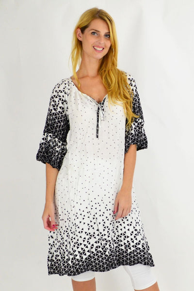 White Triangle Crinkle Tie Tunic Dress | I Love Tunics | Tunic Tops | Tunic | Tunic Dresses  | womens clothing online