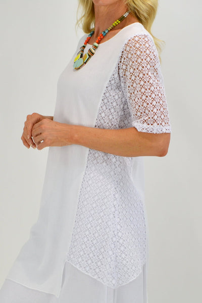 White Lace Layered Tunic Dress - I Love Tunics
