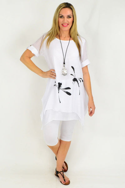 White Dragonfly Cotton Linen Tunic Blouse