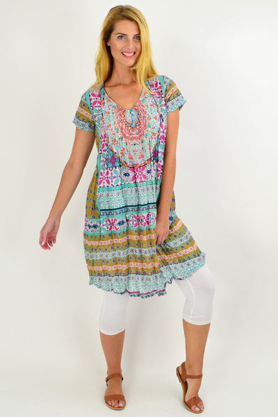 Summer Pattern Cotton Tunic Dress