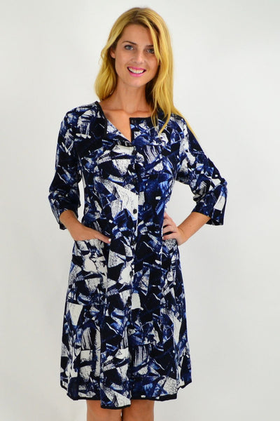 Dark Blue Abstract Button Up Tunic Dress - I Love Tunics