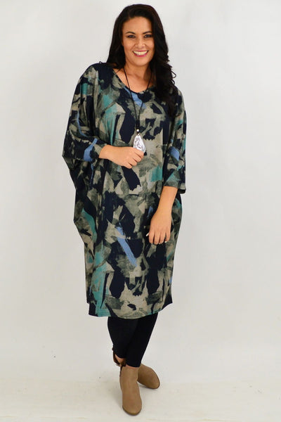 Aqua Oversized Tunic Dress