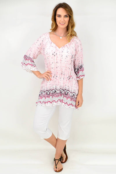 Soft Pink Crinkle Tie Tunic Blouse