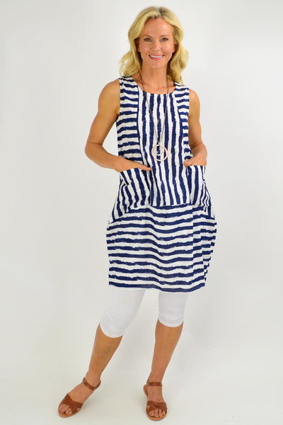 Navy Essential Stripe Bubble Tunic Dress