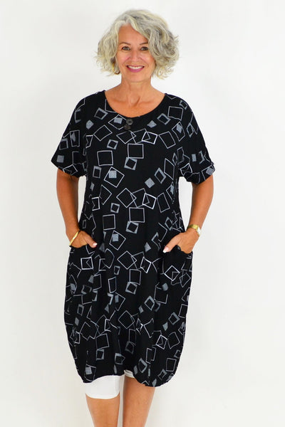 Black Mila Square Tunic Dress