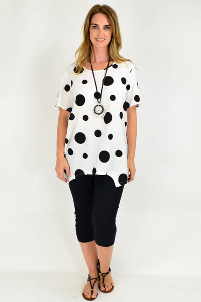 White Spot Short Sleeve Tunic Blouse