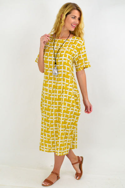 Mustard Square Pattern Tunic Dress | I Love Tunics | Tunic Tops | Tunic | Tunic Dresses  | womens clothing online