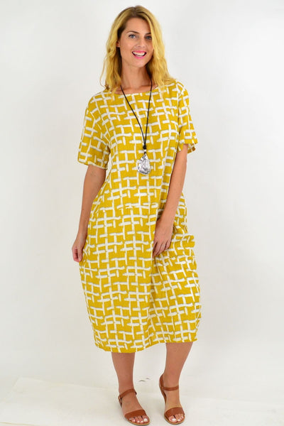 Mustard Square Pattern Tunic Dress