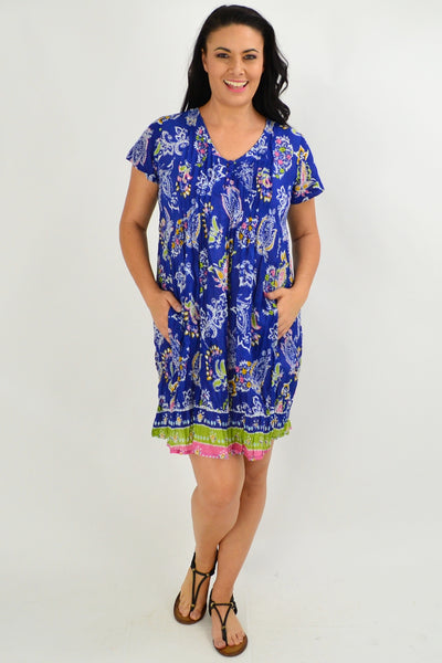 Blue Paisley Cap Sleeve Tunic Top - I Love Tunics