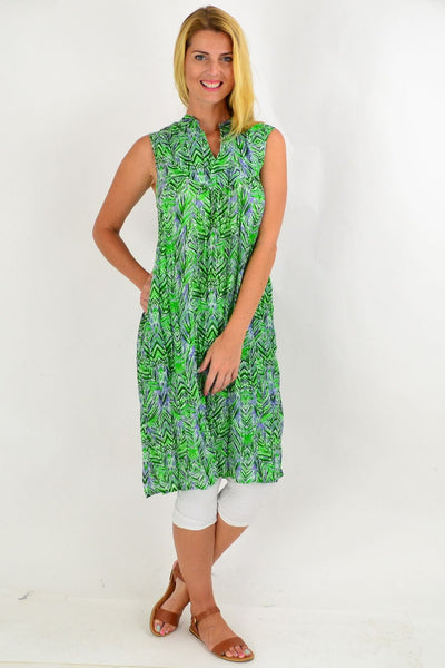 Green Palm Leaf Tunic Dress | I Love Tunics | Tunic Tops | Tunic | Tunic Dresses  | womens clothing online