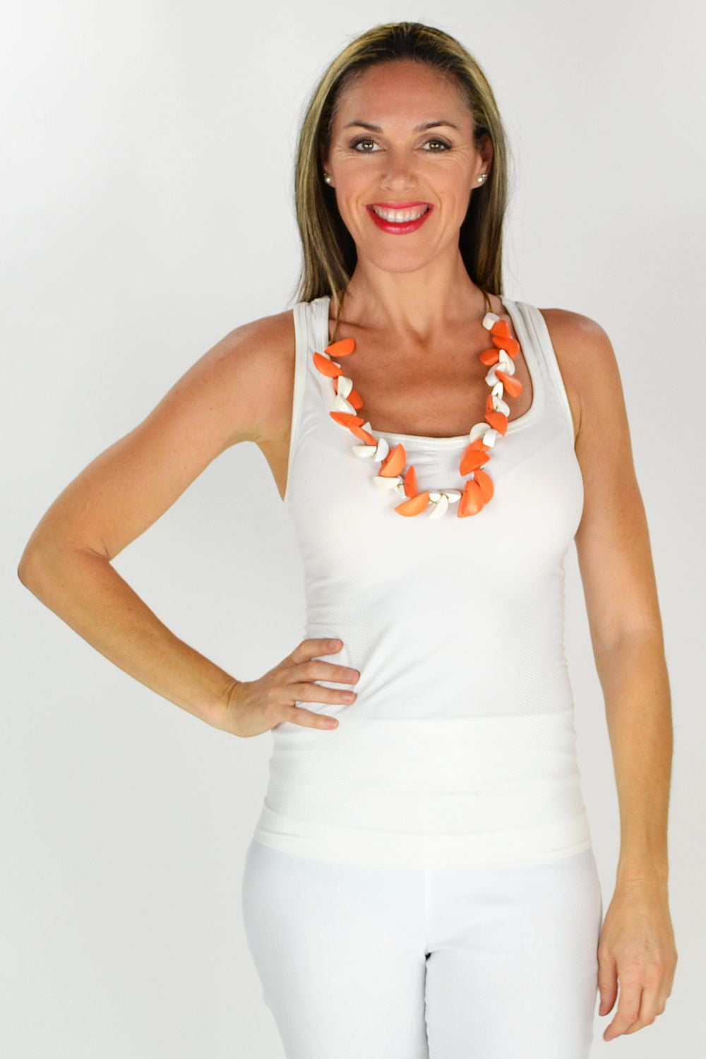 Orange and White Necklace - at I Love Tunics @ www.ilovetunics.com = Number One! Tunics Destination