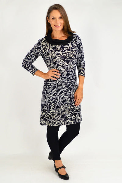 Roll Neck Leaf Winter Tunic Dress